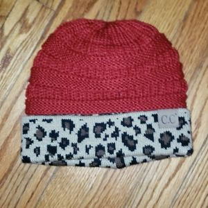 C.C red and leopard beanie cap